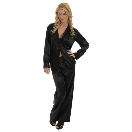 Womens Black Satin Charmeuse Pajamas 2 Pc Set Sleep Shirt And Lounge Pants