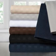 Sweet Home Collection Luxury Dobby Striped Double Brushed 4-Piece Sheet Set full chocolate