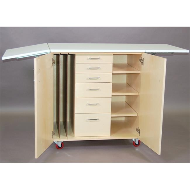SMI WCS-BWD Natural Brich Finish Art Station With Doors