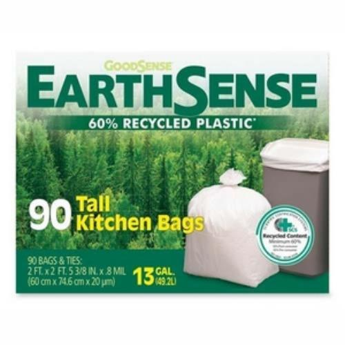 "Earthsense Tall Kitchen Bag - 13 Gal - 28"" X 23.75"" - 0.70 Mil [18 µm] Thickness - Low Density - 90/box - White (GES6K90)"