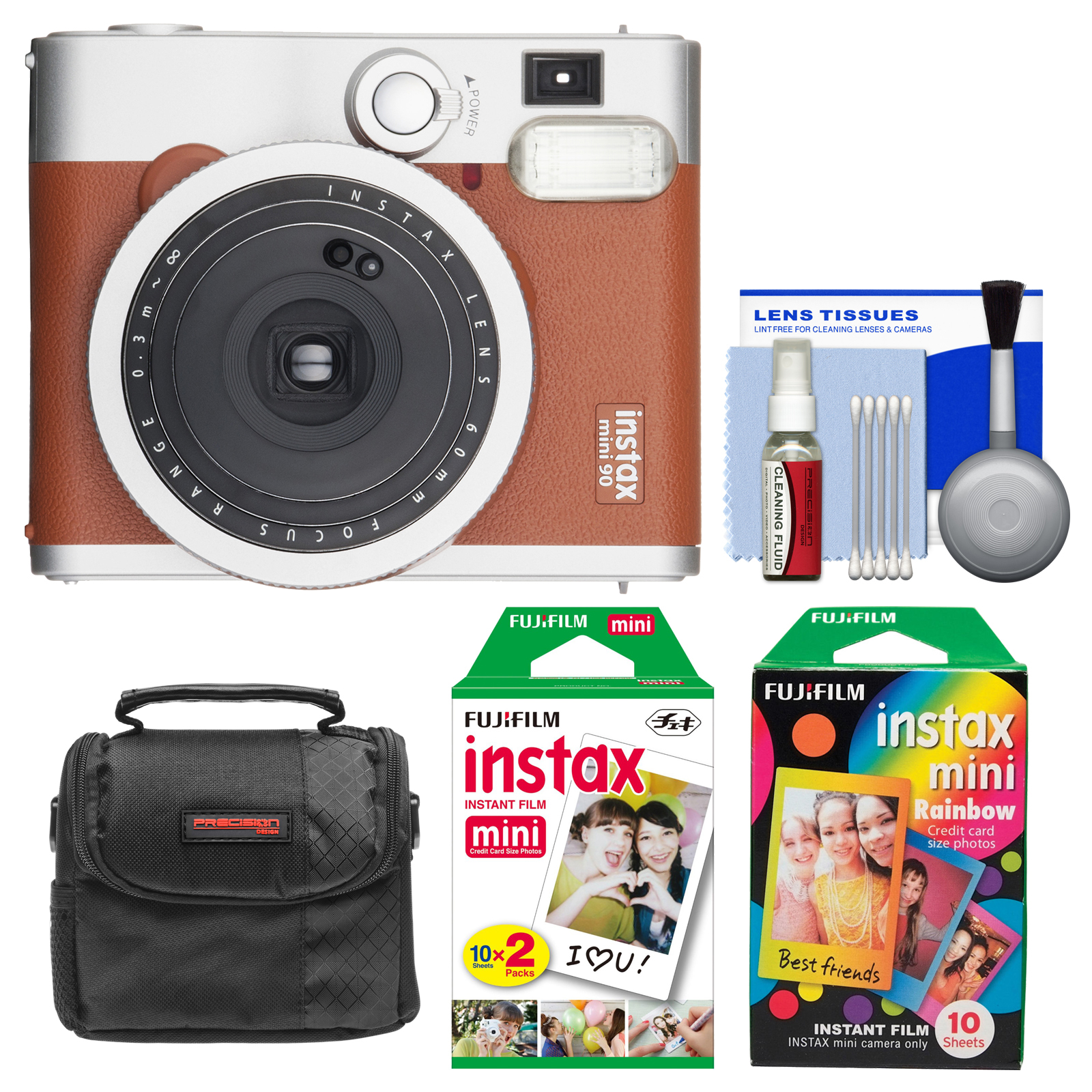 FujiFilm Instax Mini 90 Neo Classic Instant Film Camera (Brown) with Instant & Rainbow Film Packs + Case + Kit by Fujifilm