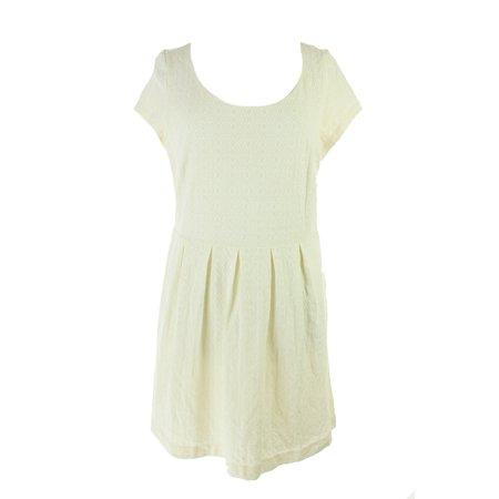 Maison Jules Antique White Cap-Sleeve Damask Flared Dress XL](Antique Dress)