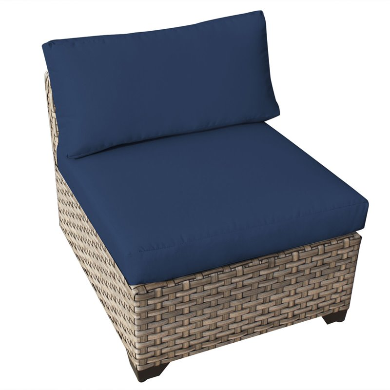 Bowery Hill Armless Patio Chair in Navy (Set of 2)