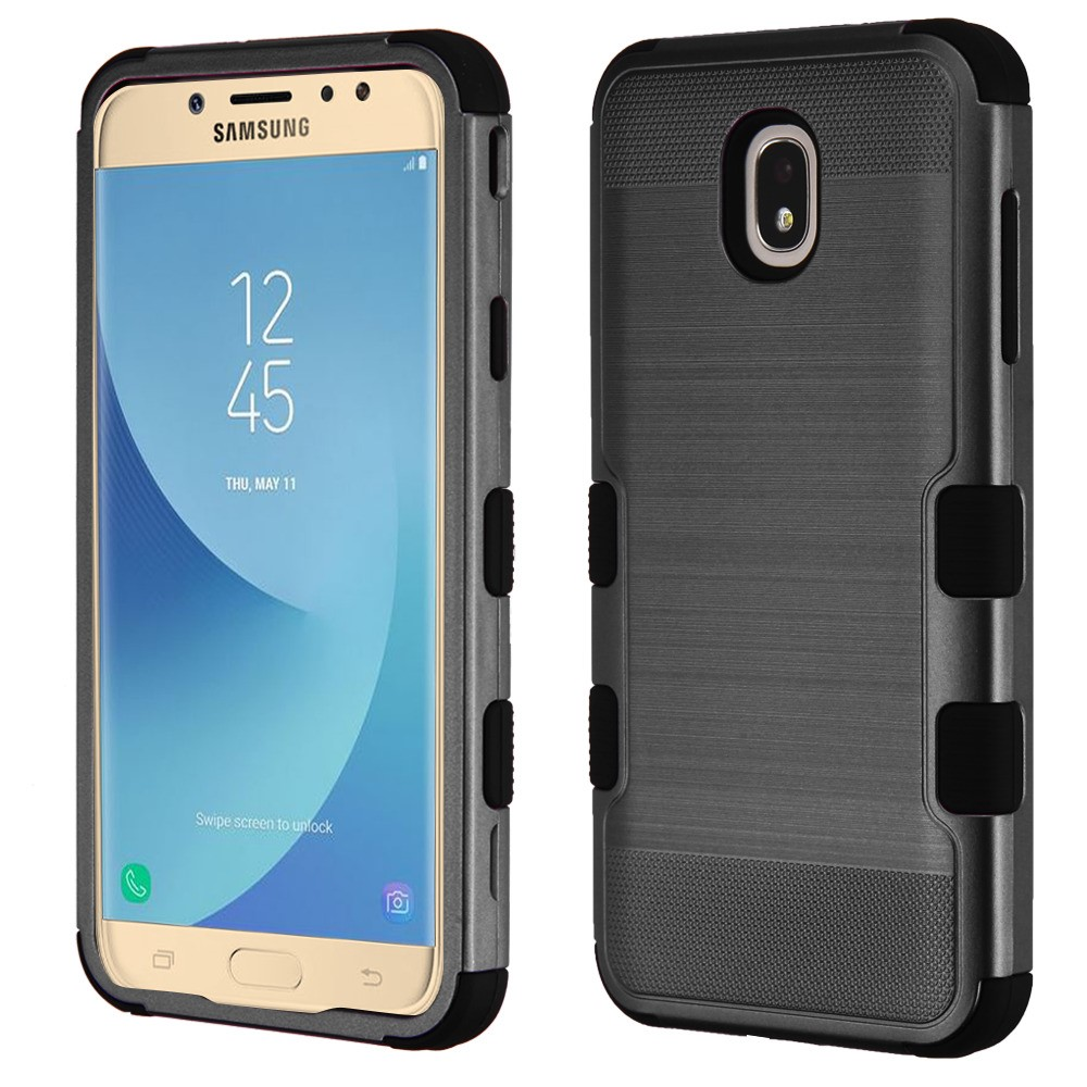 TUFF Hybrid Series Military Grade Certified Metallic Brushed Slate Finish Phone Protector Cover Case and Atom Cloth for Samsung Galaxy J7 Star - Black
