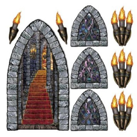 Club Pack of 108 Medieval Stone Insta-Theme Halloween Castle Prop - Halloween Insta Theme