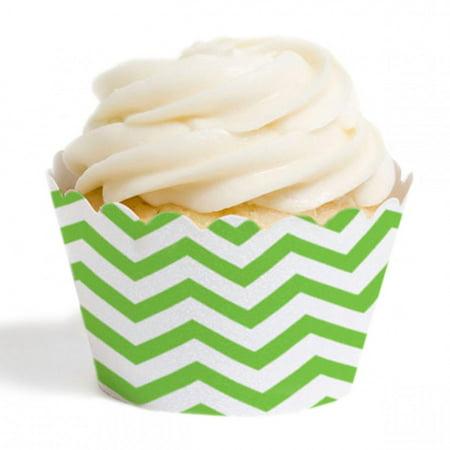 Dress My Cupcake Standard Cupcake Wrappers, Chevron, Kiwi Green, Set of 12 (Cheap Cupcake Dresses)