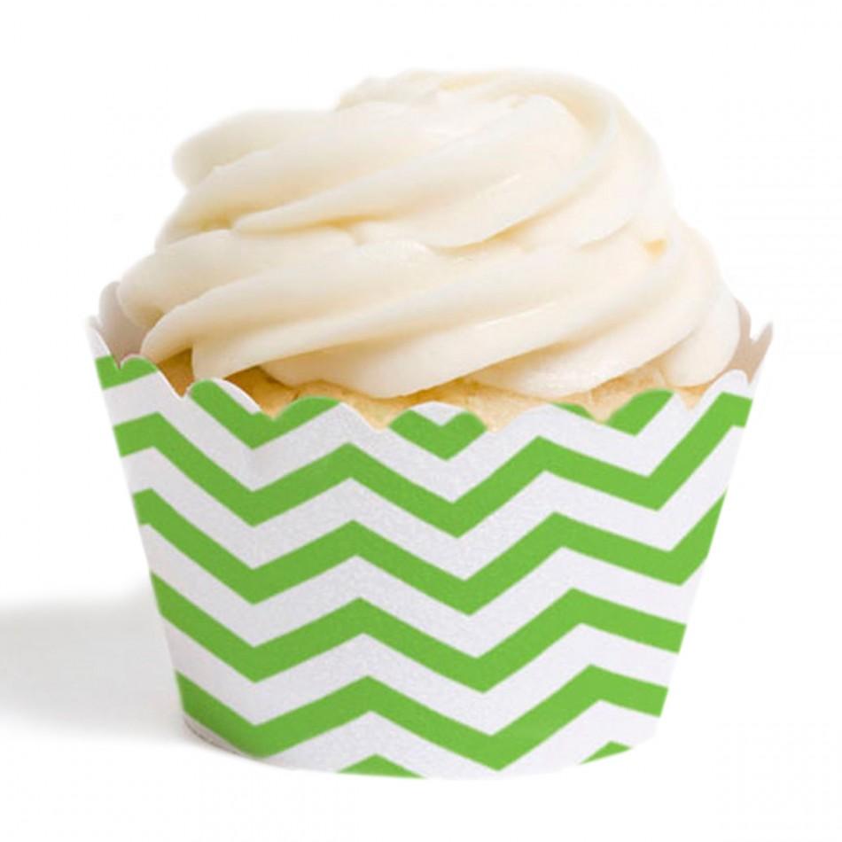 Dress My Cupcake Standard Cupcake Wrappers, Chevron, Kiwi Green, Set of 12