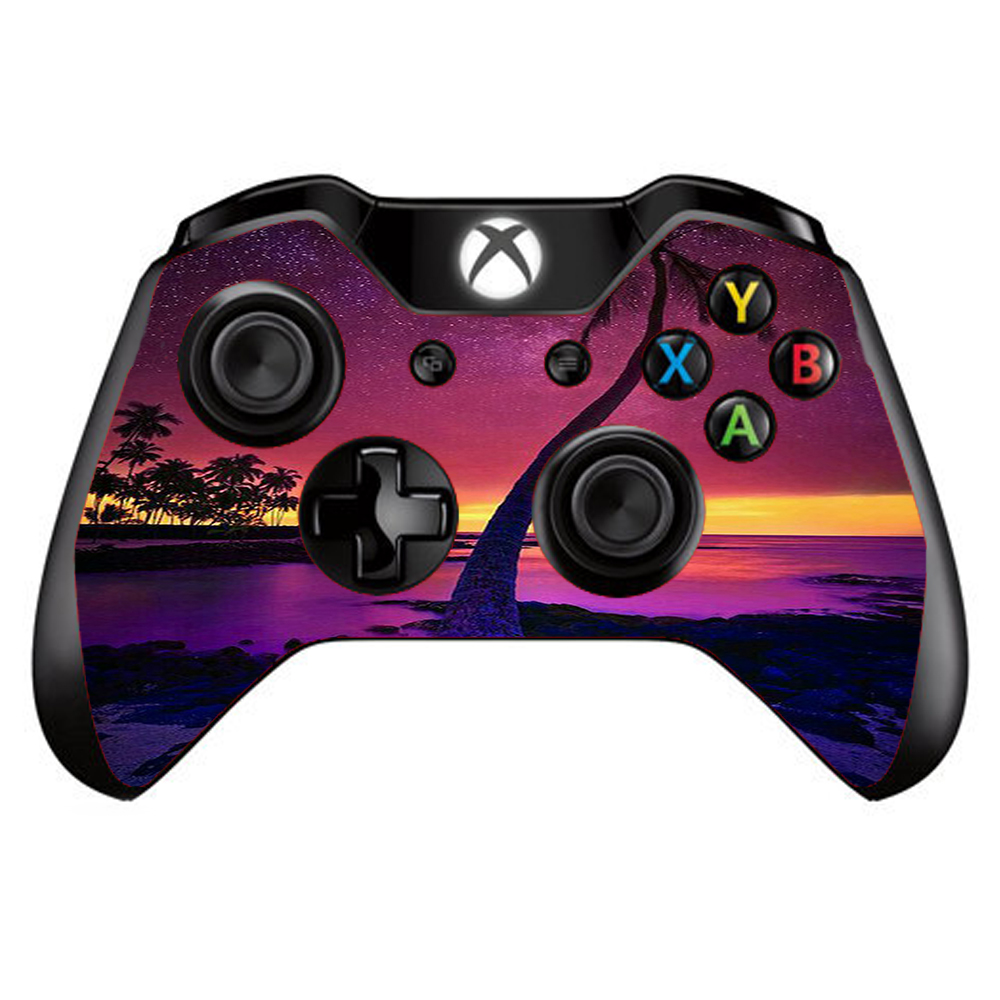 Skins Decals For Xbox One / One S W/Grip-Guard / Palm Tree Stars And Sunset Purple