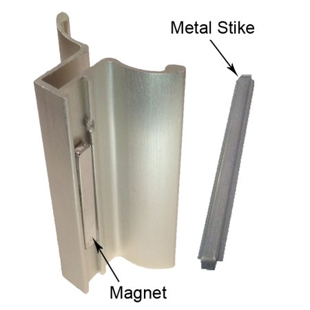 Brushed Nickel Frameless Shower Door Handle with Magnet and Stainless Steel Strike Plate - Set ()