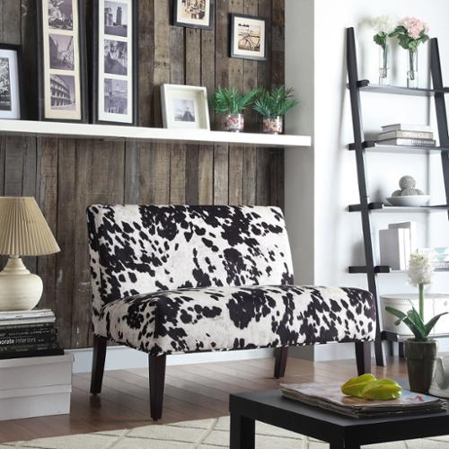 iNSPIRE Q Wicker Black and White Faux Cow Hide Fabric 2-s...