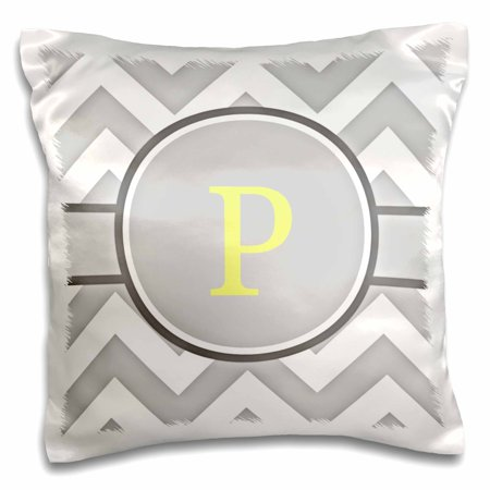 3dRose Grey and white chevron with yellow monogram initial P - Pillow Case, 16 by 16-inch ()