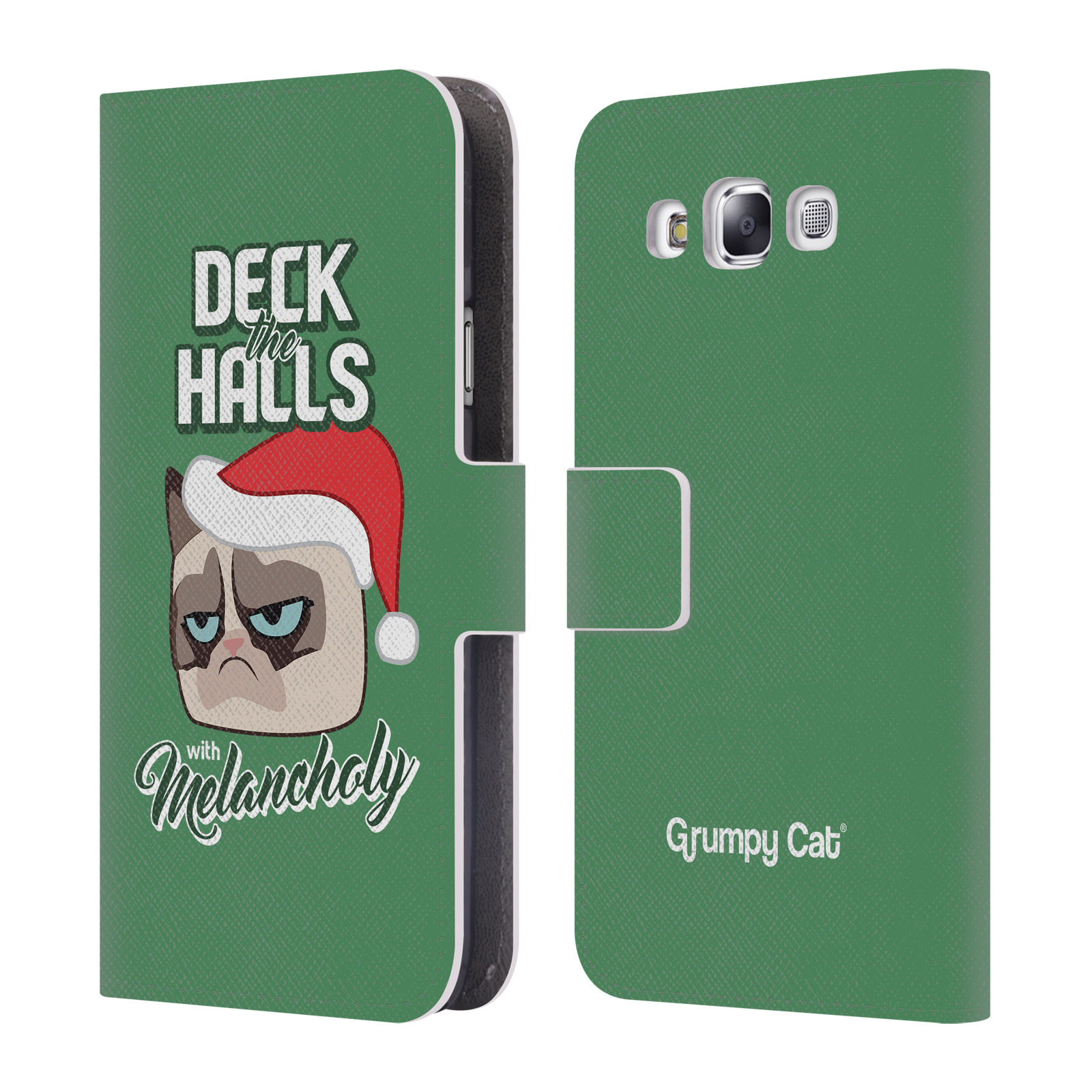 OFFICIAL GRUMPY CAT GRUMPMOJI CHRISTMAS LEATHER BOOK WALLET CASE COVER FOR SAMSUNG PHONES 3