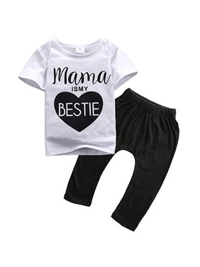 3c9556312ccd Product Image Unisex Baby Boy Girl Mama Is My Bestie White T-shirt+Black  Legging Pant