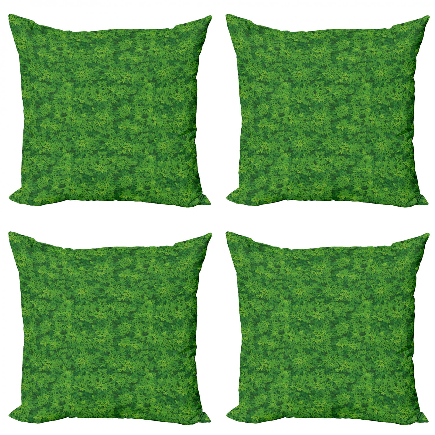 Botanical Throw Pillow Cushion Case Pack Of 4 Overview Scene Of Foliage Leafy Greenery Forest Items Modern Accent Double Sided Print 4 Sizes Fern Green Emerald By Ambesonne Walmart Com Walmart Com