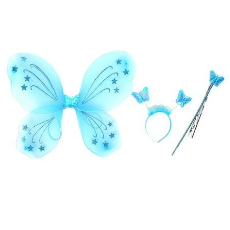 Unique Bargains Girls Butterfly Fairy Angel Wings Wand Boppers Set Party Fancy Dress Fuchsia](Best Fancy Dress Halloween)