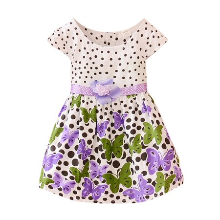 Summer Toddler Baby Girls Polk Dots Butterfly Bowknot Skirt Dress Clothes - Butterflies Clothing