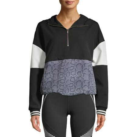 Avia Women's Athleisure 1/4 Zip Colorblock Pullover Hoodie Majestic Athletic Zip Front Jacket