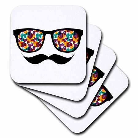 3dRose Hipster Trendy Retro Color Blobs Shades Sunglasses and Mustache, Soft Coasters, set of (Sunglasses Moustache)