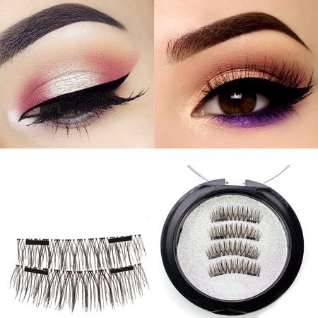 Asavea Extra Long Magnetic False Eyelashes, 1 pair (4 piece) Natural Handmade Extension Ultra Thin Fake Magnetic Lashes No Glue