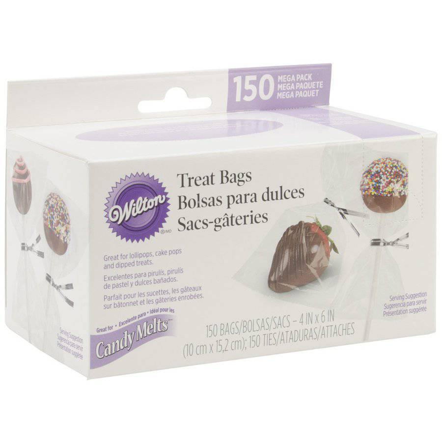 """Wilton Candy Melts 4""""x6"""" Treat Bags with Ties, Mega Pack 150 ct. 1912-9508"""