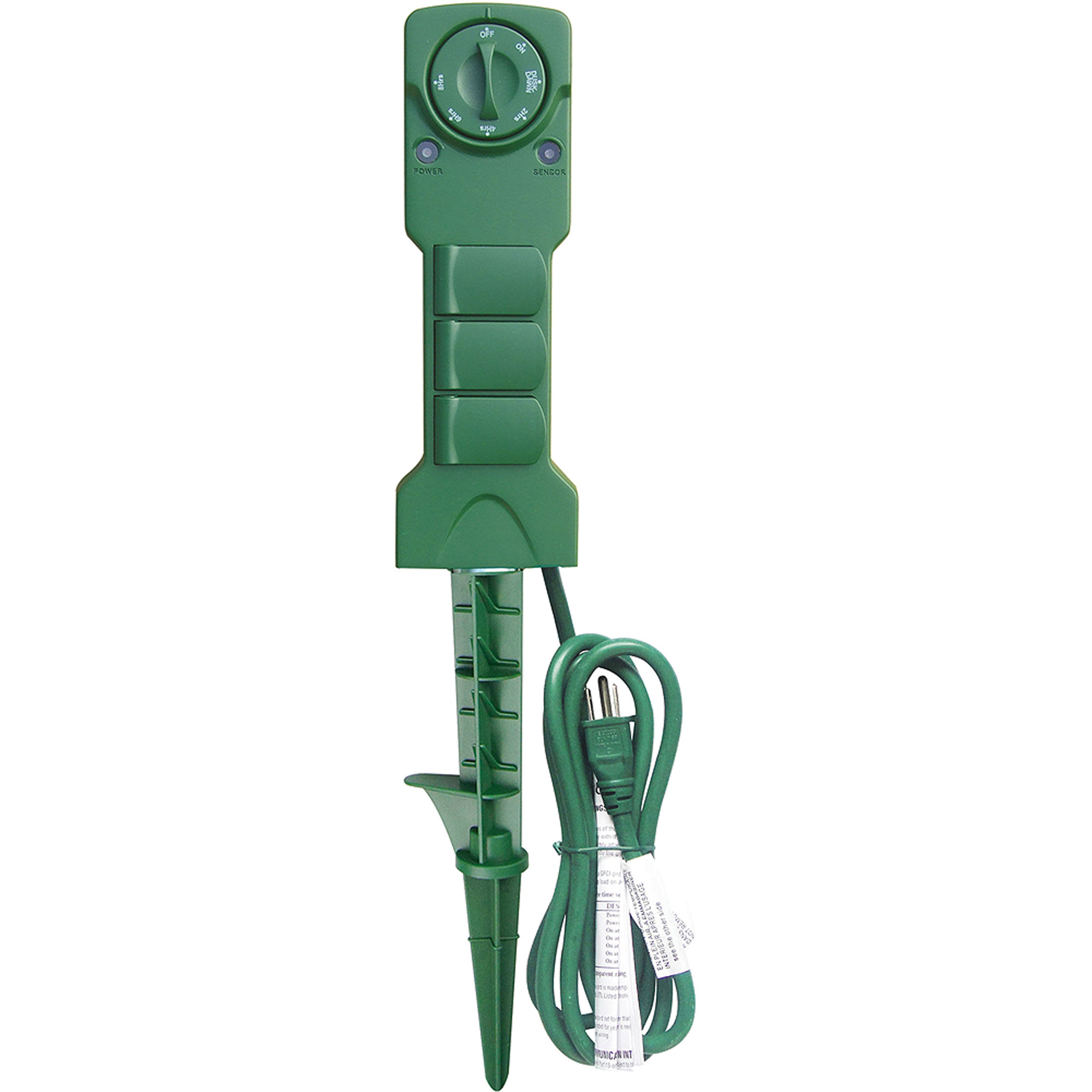 Holiday Time 3-Outlet Power Stake with Timer, Waterproof Construction