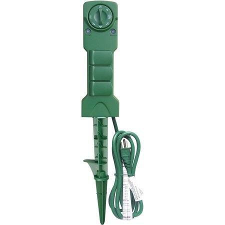 Outdoor 3-Outlet Power Stake with Timer, Waterproof Construction