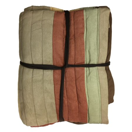 Home Faux Suede Earth Tone Rust & Tan Quilt Twin Bedding Quilted Comforter ()