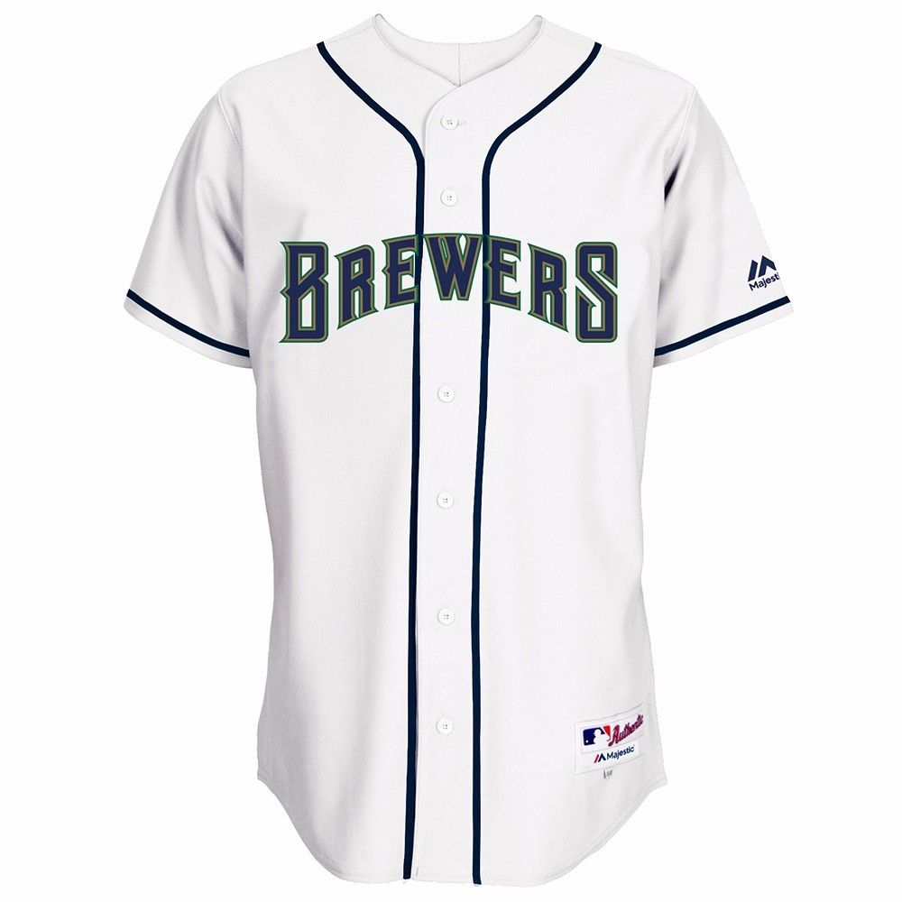 "Milwaukee Brewers MLB Majestic Men's White Authentic On-Field ""Turn Back the Clock"" Throwback Jersey"