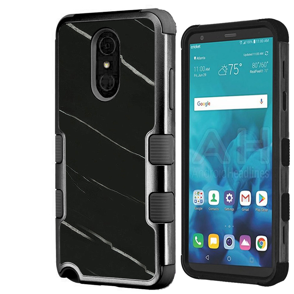 For LG Stylo 4 Case, OneToughShield ® ShockProof 3-Layer Protective Phone Case (Black/Black) - Marble / Black