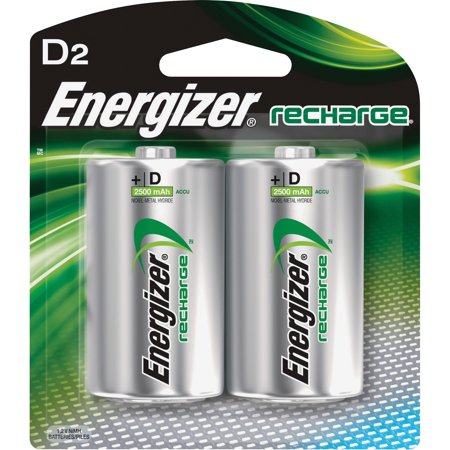 Energizer Rechargeable D Batteries, 2 Count