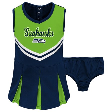 sale retailer d22a4 7194e Toddler Neon Green/College Navy Seattle Seahawks Cheerleader Dress &  Bloomers Set