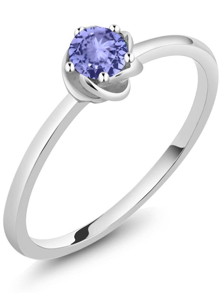 0.38 Ct Round Blue Tanzanite 10K White Gold Ring by