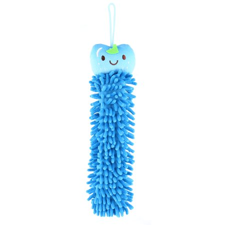 Family Chenille Apple Head Design Wall Hanging Washing Drying Hand Towel Blue