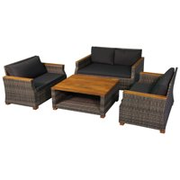 Deals on Outsunny 4 Piece Patio PE Rattan Wicker Sofa Set
