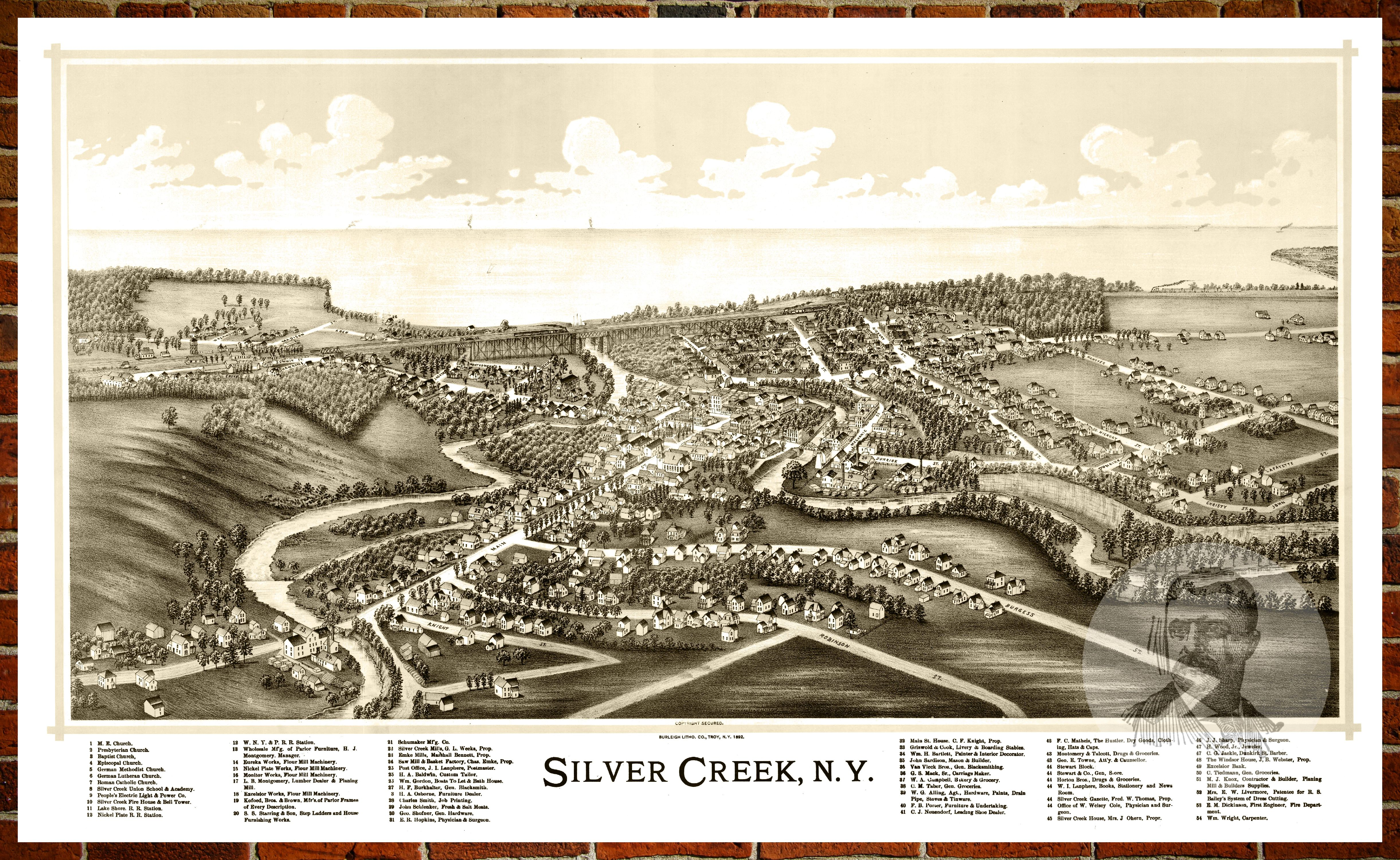 Ted S Vintage Art Map Of Silver Creek Ny 1892 Old New York Decor