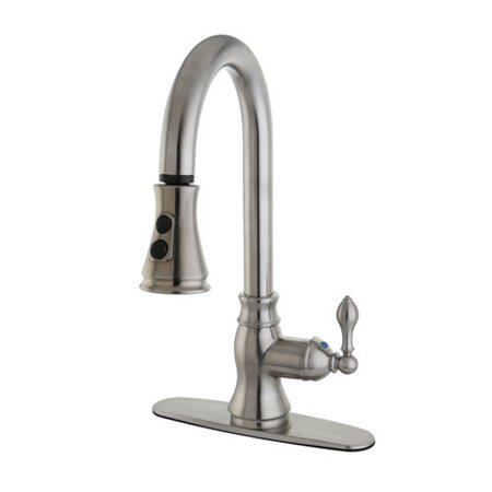 Kingston Brass American Classic Pull Down Single Handle Kitchen Faucet - Handle Kitchen Faucet Polished Brass