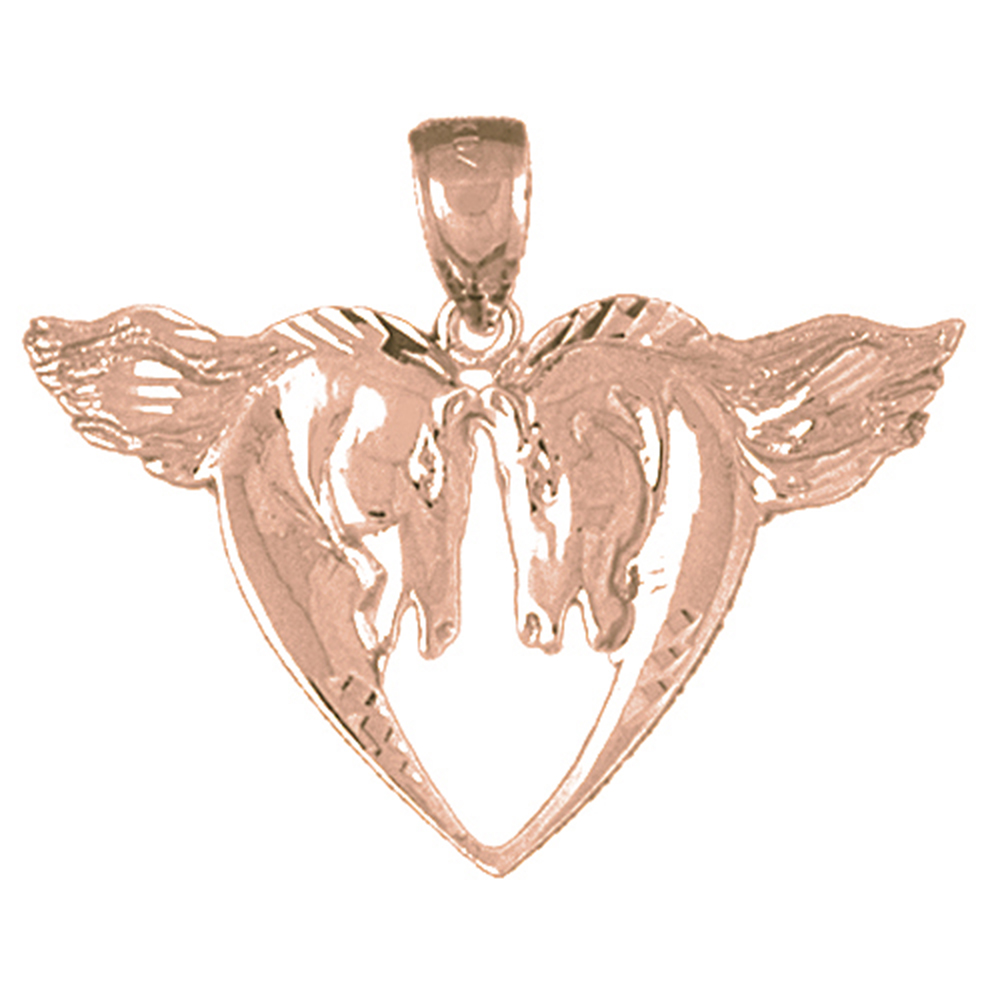 14K Rose Gold Horse Heart Pendant - 28 mm