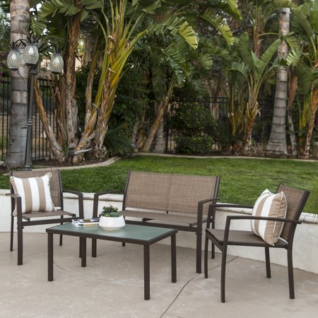 Best Choice Products 4-Piece Outdoor Patio Metal Conversation Furniture Set w/ Loveseat, 2 Chairs, and Glass Coffee Table for Backyard, Patio, Poolside - Brown ()