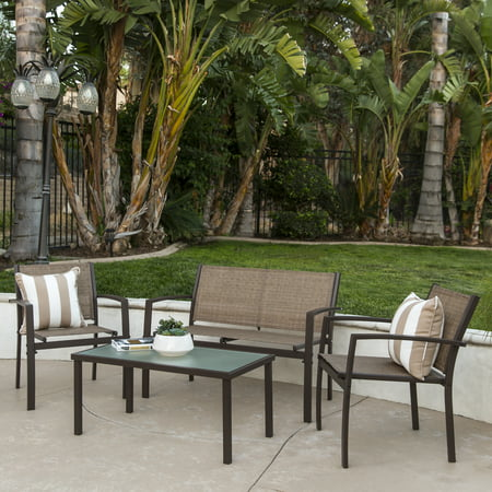 Seat Conversation Set - Best Choice Products 4-Piece Patio Metal Conversation Furniture Set w/ Loveseat, 2 Chairs, and Glass Coffee Table- Brown