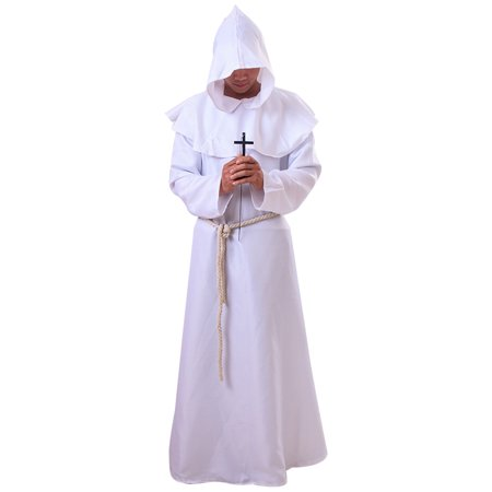 Medieval Priest Monk Robe Hooded Cap Halloween Cosplay Costume Cloak for Wizard Sorcerer - Size L (White) (Hood Medieval)