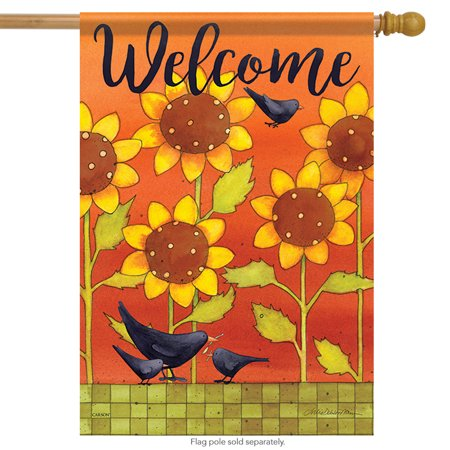 Left Side Banner - Sunny Fall Crows House Flag Floral Bird Double Sided Decorative Banner 28