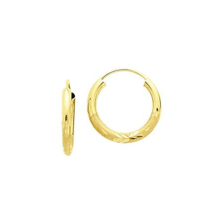 14k Yellow Gold Round Endless Hoop Earrings 7mm