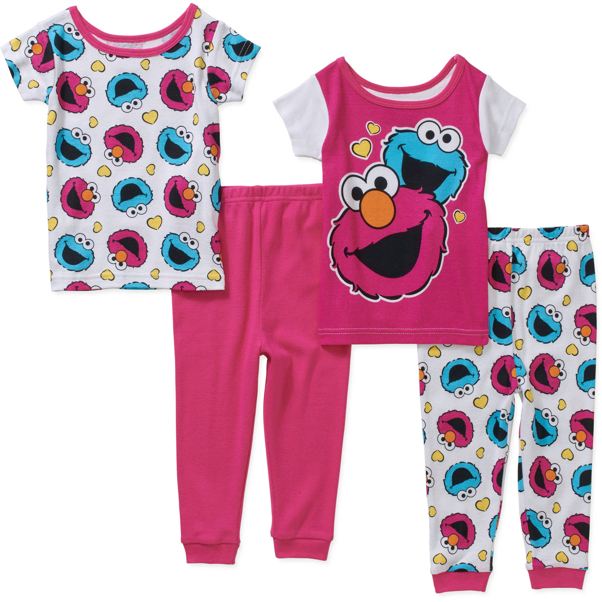 Sesame Street Infant Baby Girl Cotton Tight Fit Short Sleeve PJs, 4-Pieces