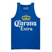 Tee Luv Men's Corona Extra Crown Logo Beer Tank Top (Royal Blue)