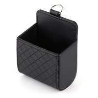 Car Auto Seat Back Interior Air Vent Tidy Storage Coin Bag Case Organizer Cellphone Holder Pounch Box with Hook (Black)