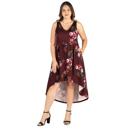 Women's Plus Size Maroon Floral High Low Dress with Pockets