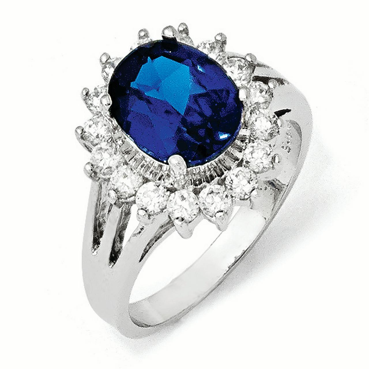 Cheryl M Sterling Silver CZ & Lab created Dark Blue Spinel Ring Size 6 - image 3 de 3