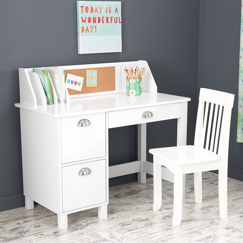 Kids White Desk With Drawers Low Cost Standing Desk