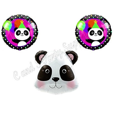 3-piece PANDA-MONIUM Happy Birthday Balloons Decoration Supplies Party Children Girl Zoo pink for $<!---->