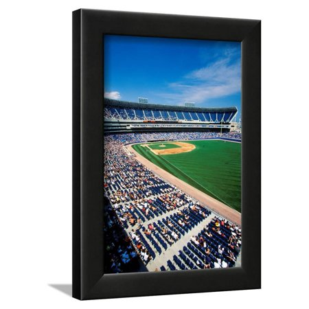 Long view of Baseball diamond and bleachers during professional Baseball Game, Comiskey Park, Il... Framed Print Wall Art ()